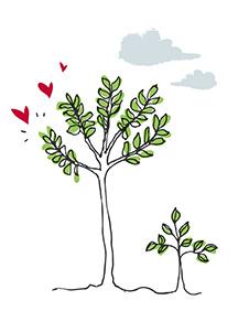 Ilustracja drzew z serduszkami